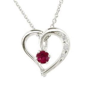 ネックレス レディース ダイヤモンド オープンハート プラチナルビー 7月誕生石 チェーン 人気 ダイヤ 送料無料|atrusyume