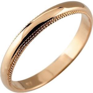 リング メンズ 指輪 ピンクゴールドk10 甲丸 地金 ミル...