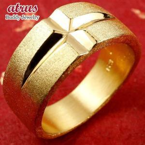 純金 指輪 メンズ 24金 ゴールド k24 24k クロス リング 幅広 地金 ストレート 男性用...
