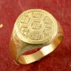 24金 指輪 メンズ 印台 亀甲に桔梗紋 純金 リング 幅広 k24 24k 金 ゴールド ピンキー...