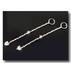 ダイヤモンド ピアスパーツ ホワイトゴールドk18 ロングデザイン ダイヤ 18金 クリスマス 女性