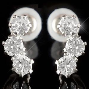 ピアス プラチナ ダイヤモンド 0.30ct レディース pt900 トリロジー ダイヤ シンプル スリーストーン 天然石 宝石 女性 プレゼント 送料無料 人気|atrusyume
