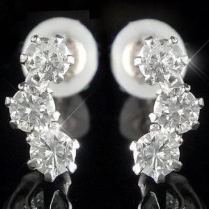 ピアス プラチナ シンプル ダイヤモンド トリロジー スリーストーン スタッド シンプル 天然石 ダイヤ レディース 宝石 送料無料 人気|atrusyume