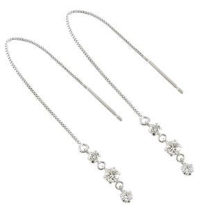ピアス プラチナ レディース シンプル ダイヤモンド 0.40ct アメリカン ロング トリロジー 揺れる ダイヤ チェーン 送料無料 人気|atrusyume