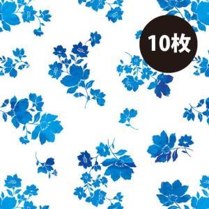 「フラワー 10枚」 ラッピング ペーパー  B2サイズ クリスマス バレンタイン 青 ブルー 北欧風 包装紙 包み紙 Mdwp|atsumeru