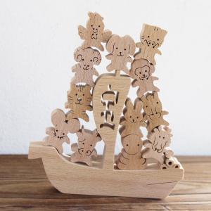 知育玩具 木のおもちゃ 「宝船にのった 干支 おぼえ隊」 誕生日 ギフト 幼児 知育 パズル 動物 日本製 定形外郵便OK|atsumeru