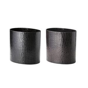 トラッシュケース (ごみ箱) アメニティ用品 AC-13 クロコレザータッチ ブラック・ブラウン|atta-v