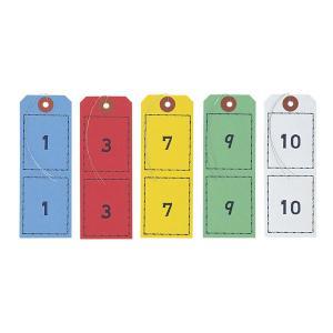 連番荷札 各色1組(1〜100番)入 BF-105 オープン工業 番号札 クローク札 紙 atta-v