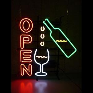 ネオンサイン OPEN  ワインオープン  BNS-002 WINE OPEN ネオン管|atta-v