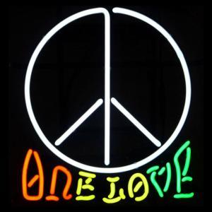 ネオンサイン ワンラブ ラブアンドピース ONE LOVE LOVE&PEACE ネオン管|atta-v