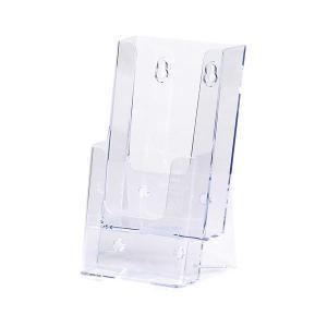 セキセイ カタログスタンド A4 三つ折り2段 CSD-2776-00 パンフレットスタンド クリア 透明 チラシ置き チラシ用スタンド パンフレットラック|atta-v