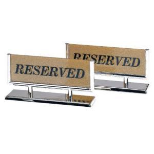 予約席サイン 案内 プレート T型・両面・アクリル+スチールメッキ 「RESERVED」 GS-5|atta-v