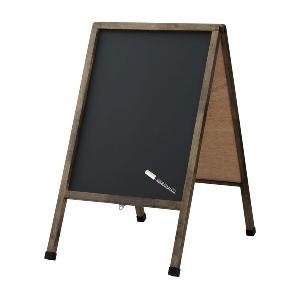 アンティーク A型看板 (中) ブラックボード 木製 両面 マーカー・チョーク兼用 LNB102 立て看板 置き看板 店舗用 atta-v