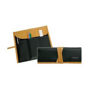 ロールペンケース 帆布×合皮 ブラック P-666 4990630666010 大人の筆箱 道具入れ コスメケース サキ atta-v