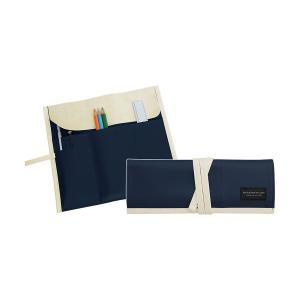 ロールペンケース 帆布×合皮 ダークブルー P-666 4990630666072 大人の筆箱 道具入れ コスメケース サキ atta-v