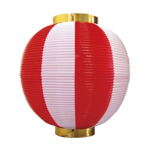 ストライプカラーポリちょうちん 尺丸 赤白 φ260xH270mm ※ポリエチレン製 8872|atta-v