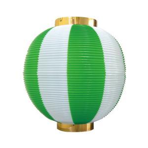 ストライプカラーポリちょうちん 尺丸 緑白 φ260xH270mm ※ポリエチレン製 8875|atta-v