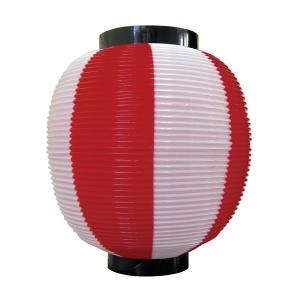 ストライプカラーポリちょうちん 九寸丸 赤白 φ225xH250mm ※ポリエチレン製 8877|atta-v