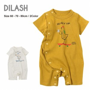 DIL正規販売店/ディラッシュ DILASH スケボー鳥の半袖ロンパース(60cm・70cm・80cm)|attackone