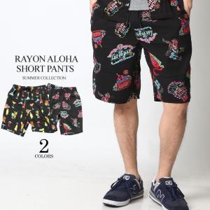 ショートパンツ メンズ ハーフパンツ ショーツ 短パン 半ズボン イージーパンツ レーヨン 総柄 アロハ柄 黒 ネイビー M L XL 2L LL 大きいサイズ|attention-store