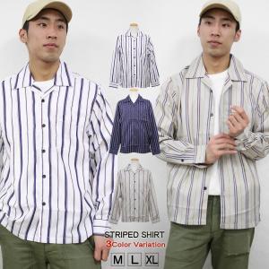 シャツ ストライプ メンズ 開襟 オープンカラー カジュアルシャツ ワークシャツ ストライプシャツ ホワイト ネイビー ベージュ M L XL XXL 長袖 attention-store