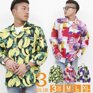 メンズ シャツ 長袖 開襟柄シャツ ペイント柄 バナナ柄|attention-store