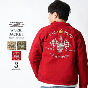 ワークジャケット スイングトップ 刺繍 ライトアウター メンズ アメカジ ブランド CONFUSE コンフューズ M L XL 春服 attention-store