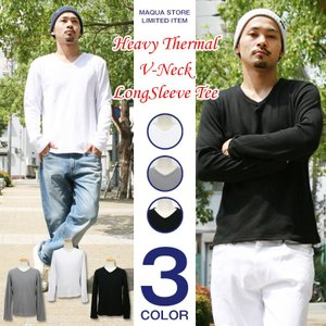 Vネック Tシャツ メンズ ロンT 長袖 サーマル ワッフル カットソー 白 黒 アメカジ ストリート系 ファッション