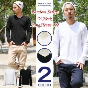 Vネック Tシャツ メンズ ロンT 長袖 テレコ カットソー 白 黒 アメカジ ストリート系 ファッション かっこいい|attention-store