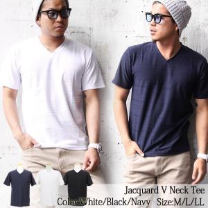 メンズ Tシャツ ジャガード ボーダー Vネック ホワイト ブラック ネイビー M L LL カジュアル ストリート ファッション|attention-store