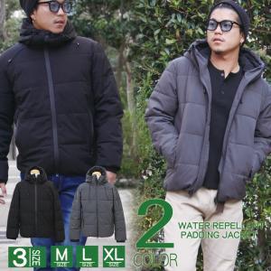 メンズ ジャケット パーカー 中綿 防寒 ストレッチ素材 中綿ジャケット|attention-store