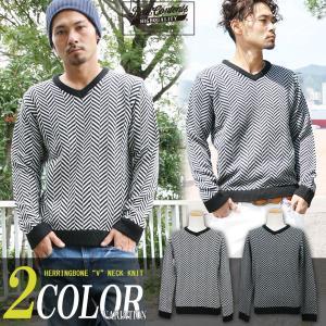 Vネックニット メンズ カットソー セーター リアルコンテンツ REALCONTENTS アメカジ ストリート系 ファッション|attention-store
