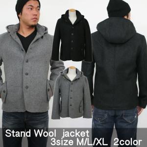 メンズ ウール ジャケット フード フード取外しメルトンウールジャケット|attention-store