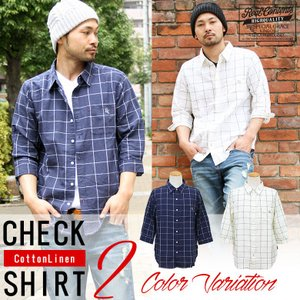 シャツ メンズ リネンシャツ チェックシャツ 7分袖 カジュアルシャツ 白シャツ アメカジ 綿麻 リアルコンテンツ 大きいサイズ ストリート|attention-store