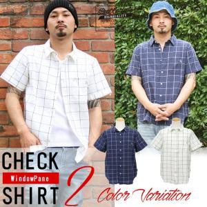 シャツ メンズ 綿麻 半袖 ウインドペン チェック リネンシャツ リアルコンテンツ REALCONTENTS M L XL XXL ストリート系 ファッション|attention-store