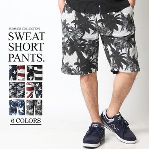 ショートパンツ メンズ ハーフパンツ ショーツ 短パン 半ズボン イージーパンツ ボーダー 総柄 星条旗 黒 ネイビー M L XL 2L LL 大きいサイズ|attention-store