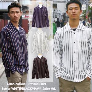 シャツ ストライプ メンズ 開襟 オープンカラー カジュアルシャツ ワークシャツ ストライプシャツ ブラック ホワイト ネイビー M L XL LL 長袖|attention-store