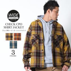 シャツジャケット CPOジャケット チェックジャケット ライトアウター ワイドシルエット ビッグシルエット メンズ attention-store