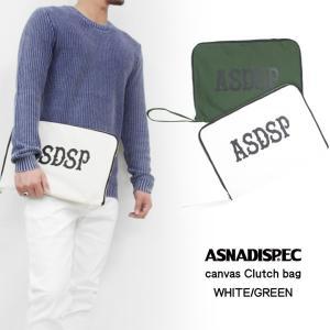 クラッチバッグ メンズ レディース バッグ ASNADISPEC アスナディスペック ホワイト グリーン アメカジ ストリート|attention-store