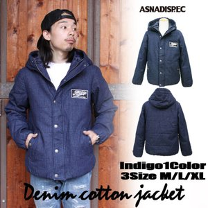 デニム中綿ワッペン付きジャケット メンズ ジャケット 中綿 アスナディスペック  ASNADISPEC|attention-store