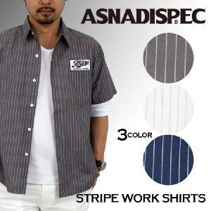 シャツ/半袖/ストライプ/メンズ/ASNADISPEC/アスナディスペック/ストリート attention-store