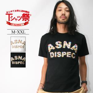 Tシャツ メンズ 半袖 プリント ロゴ 花柄 フラワー ASNADISPEC アスナディスペック アメカジ ストリート系 ファッション /3045/|attention-store