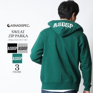 パーカー メンズ ジップアップパーカー スウェット ロゴ パーカ ASNADISPEC アスナ アスナディスペック S M L XL XXL 2XL 3L 黒 大きいサイズ|attention-store