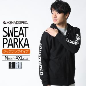ASNADISPEC スウェットパーカー メンズ ジップアップ ZIP パーカー トップス ブランド アスナディスペック M L XL XXL 大きいサイズ ストリート ロゴ 袖プリント|attention-store