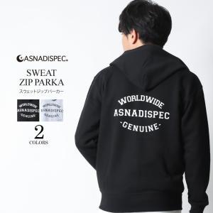 パーカー メンズ ジップアップパーカー スウェット アメカジ ロゴ ストリート系 ファッション ASNADISPEC アスナディスペック 大きいサイズ|attention-store