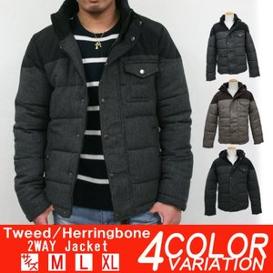 中綿ジャケット ヘリンボーン 切替 メンズ ナイロンジャケット ブルゾン アメカジ ストリート系 ファッション|attention-store
