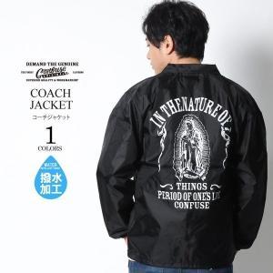 コーチジャケット メンズ ジャケット ナイロンジャケット マリア CONFUSE コンフューズ ブラック 黒 大きいサイズ M L XL XXL アメカジ ファッション|attention-store