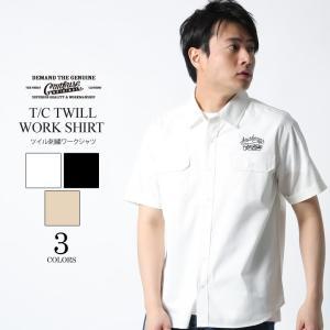ワークシャツ シャツ メンズ トップス アメカジ カジュアル ヴィンテージ 半袖 ツイル おしゃれ 刺繍 ロゴ ワンポイント ブランド M L XL LL 2L 黒 白 ベージュ|attention-store