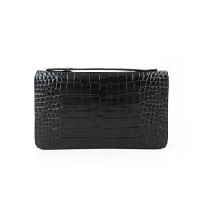 CIENCIA シエンシア セカンドバッグ メンズ クロコ型押し 牛本革 ダブルファスナー ブラック|attention-store