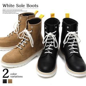 【glabella グラベラ】 ホワイトソールブーツ メンズ ワークブーツ ステッチ ストリート モード ジップブーツ 靴 フェイク スウェード|attention-store